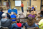 March 5, 2017- Tuscola, IL- Former Chief Illiniwek Ivan Dozier and current Chief Bennett Kamps spoke to Tuscola Boy Scouts and the public at the Robert C. Nunn Scout Center. [Photo: Douglas Cottle]