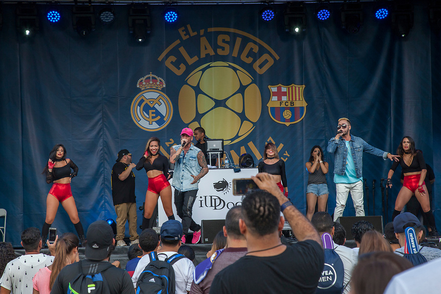 Latin Grammy-nominated from Puerto Rico ALEXIS Y FIDO  in a live performance at Casa Clasico presented by La Liga on Saturday, July 29, 2017 at Bayside Park in Miami, Florida. (Jesus Aranguren/AP Images for International Champions Cup)