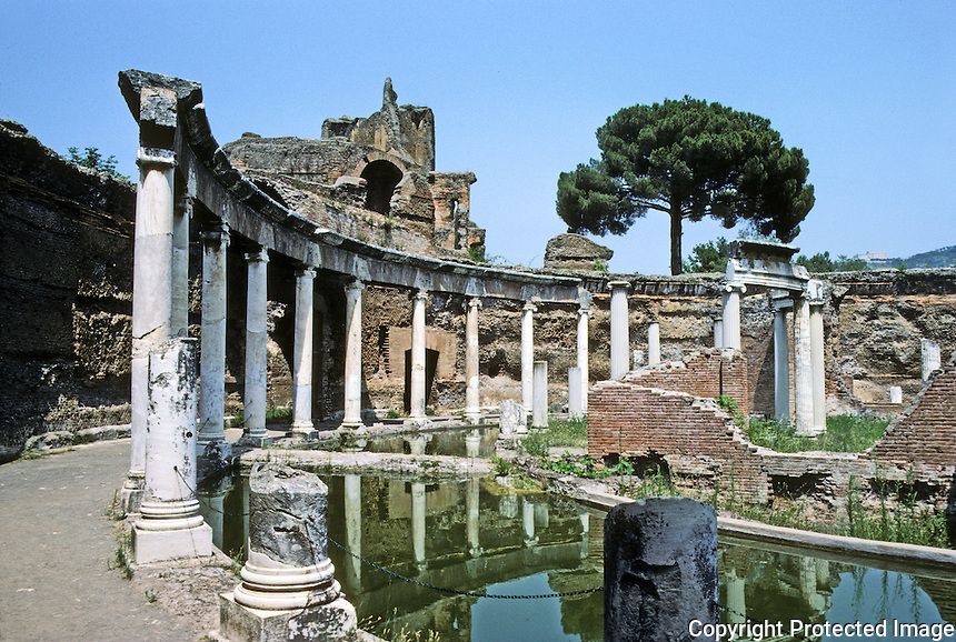 Italy: Tivoli--Hadrian's Villa: Maritime Theatre. Hadrian, a recluse, liked to retire to the island reached by portable bridges.