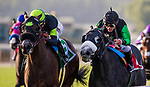 ARCADIA, CA - DECEMBER 26: Bowies Hero #5 with Kent Desormeaux up defeats #1 Kroy and Javier Castellano to win the Mathis Brothers Mile at Santa Anita Park on December 26, 2017 in Arcadia, California. (Photo by Alex Evers/Eclipse Sportswire/Getty Images)