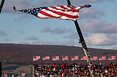 Scranton, Pennsylvania<br /> November 2, 2020<br /> <br /> Trump supporters come out in mass for one of his final campaign rallies of the 2020 election cycle at the Wilkes-Barre/Scranton International Airport. <br /> <br /> Decked out in deep red and blue they remain ferociously impassioned that he must remain in office for at least another 4-years.