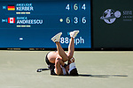 March 17, 2019: Bianca Andreescu (CAN) reacts after she defeated Angelique Kerber (GER) 6-4, 3-6, 6-4 in the finals of the BNP Paribas Open at the Indian Wells Tennis Garden in Indian Wells, California. ©Mal Taam/TennisClix/CSM