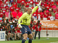 Brad Friedel yells instructions to his defense. The USA tied South Korea, 1-1, during the FIFA World Cup 2002 in Daegu, Korea.