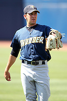 Trenton Thunder pitcher Pat Venditte #27 before a game against the Akron Aeros at Canal Park on July 26, 2011 in Akron, Ohio.  Trenton defeated Akron 4-3.  (Mike Janes/Four Seam Images)