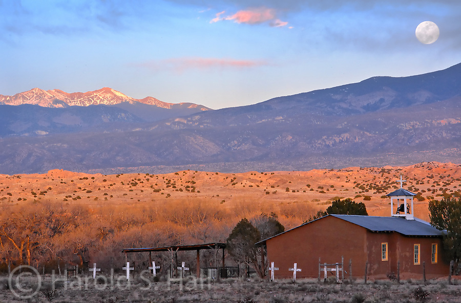 The church at the base of Black Mesa is a well known landmark in the San Ildefonso Pueblo in northern New Mexico.