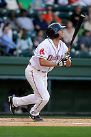 Outfielder Bo Greenwell (31) of the Greenville Drive bats in a game against the Kannapolis Intimidators on Friday, April 11, 2014, at Fluor Field at the West End in Greenville, South Carolina. Greenville won, 13-2. (Tom Priddy/Four Seam Images)