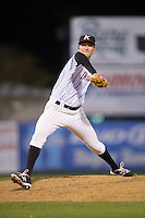 Kannapolis Intimidators relief pitcher Ryan Hinchley (17) in action against the Hickory Crawdads at Kannapolis Intimidators Stadium on April 9, 2016 in Kannapolis, North Carolina.  The Crawdads defeated the Intimidators 6-1 in 10 innings.  (Brian Westerholt/Four Seam Images)