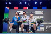 Elena Pirrone (ITA) is the 2017 Junior Women's iTT World Champion with Alessia Vigilia (ITA) 2nd & Madeleine Fasnacht (AUS) 3rd<br /> <br /> Women Junior Individual Time Trial<br /> <br /> UCI 2017 Road World Championships - Bergen/Norway