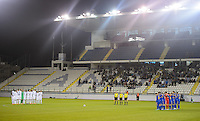 Larnaka, Cyprus - Wednesday, March 5, 2014: The USA Men's national team lost 2-0 to Ukraine during an international friendly at the Atonis Papadopoulos Stadium. A moment of silence to honor victims of Ukranian conflict.