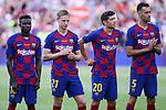 Presentation 1st team FC Barcelona 2019/2020.<br /> Moussa Wague, Frenkie de Jong, Sergi Roberto & Sergio Busquets.