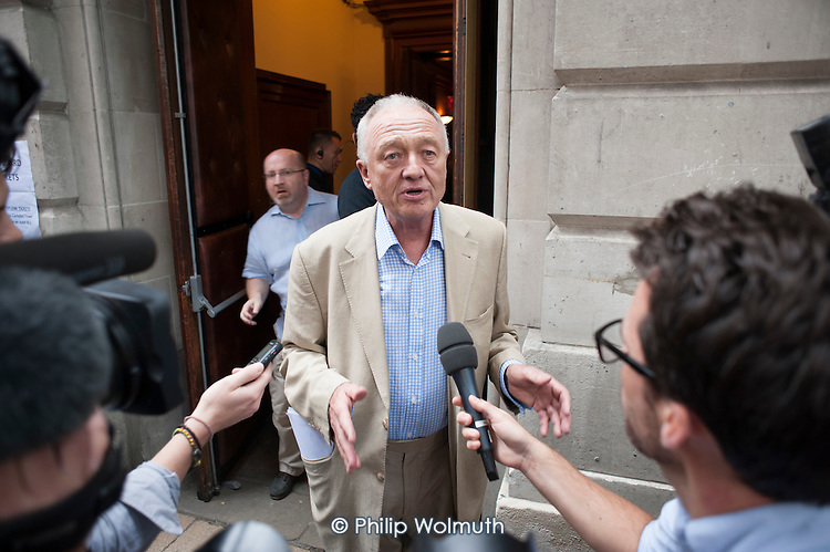 Ken Livingstone speaks to journalists.  Grassroots for Jeremy. 1500 people attend a rally in support of Jeremy Corbyn for Labour Leader. Camden Centre, London.