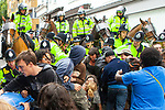 © Joel Goodman - 07973 332324 - all rights reserved . 30/08/2010 . Brighton , UK . Antifascists clash with police as they attempt to block the route of the March for England march . Nationalist group , March for England , hold a march in Brighton , opposed by antifascists . Photo credit : Joel Goodman