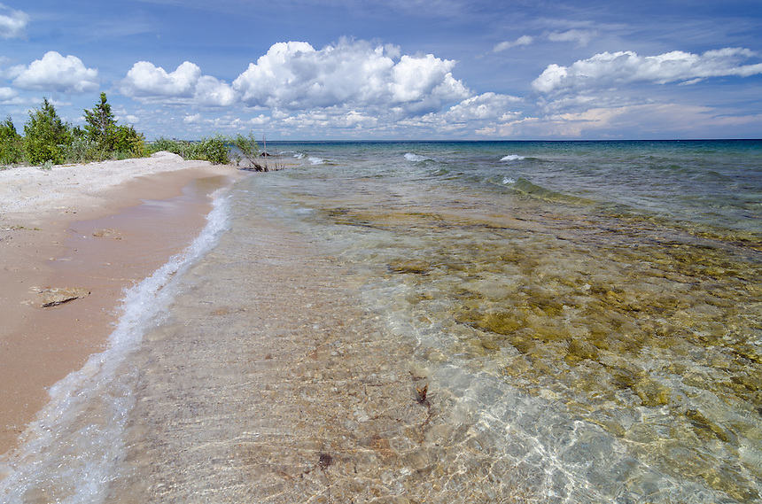 The clear and beautiful waters of Lake Michigan on a hot summer day. Gulliver, MI
