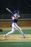 Seth Beer (28) of the Clemson Tigers follows through on his swing against the Wake Forest Demon Deacons at David F. Couch Ballpark on March 12, 2016 in Winston-Salem, North Carolina.  The Tigers defeated the Demon Deacons 6-5.  (Brian Westerholt/Four Seam Images)