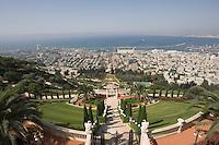 Asie/Israël/Galilée/Haïfa: Temple et Jardins Bahaïs sur le Mont Carmel et panorama sur le port, la ville et la baie