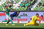 19.09.2020, wohninvest Weserstadion, Bremen, GER,  SV Werder Bremen vs Hertha BSC Berlin, <br /> <br /> <br />  im Bild<br /> <br /> 0:2 Mathew Leckie (Hertha BSC #11)<br /> gegen Jiri Pavlenka (Werder Bremen #01) und Theodor Gebre Selassie (Werder Bremen #23)<br /> <br /> Foto © nordphoto / Kokenge<br /> <br /> DFL regulations prohibit any use of photographs as image sequences and/or quasi-video.
