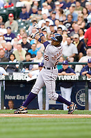 July 5, 2008: Detroit Tigers outfielder Curtis Granderson at-bat against Seattle Mariners starter R.A. Dickey at Safeco Field in Seattle, Washington.