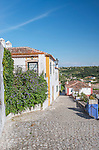 Portugal, Obidos, Cobblestone Street in the Historic Cente