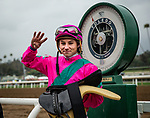 ARCADIA, CA - MARCH 10: Drayden Van Dyke celebrates winning 4 races in a row at Santa Anita Park on March 10, 2018 in Arcadia, California. (Photo by Alex Evers/Eclipse Sportswire/Getty Images)