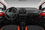 Stock photo of straight dashboard view of a 2018 Volkswagen Up Cross Up 5 Door Hatchback