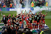 Jonny Wilkinson of RC Toulon lifts the trophy after winning the Heineken Cup Final between ASM Clermont Auvergne and RC Toulon at the Aviva Stadium, Dublin on Saturday 18th May 2013 (Photo by Rob Munro)