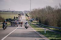 echelons formed in the peloton in the infamous 'Moeren' (where the wind always is omnipresent) <br /> <br /> Driedaagse Brugge-De Panne 2018<br /> Bruges - De Panne (202km)