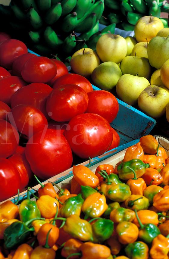 Antigua, Saint John. Fruit market, tomatoes,apples,bananas and peppers