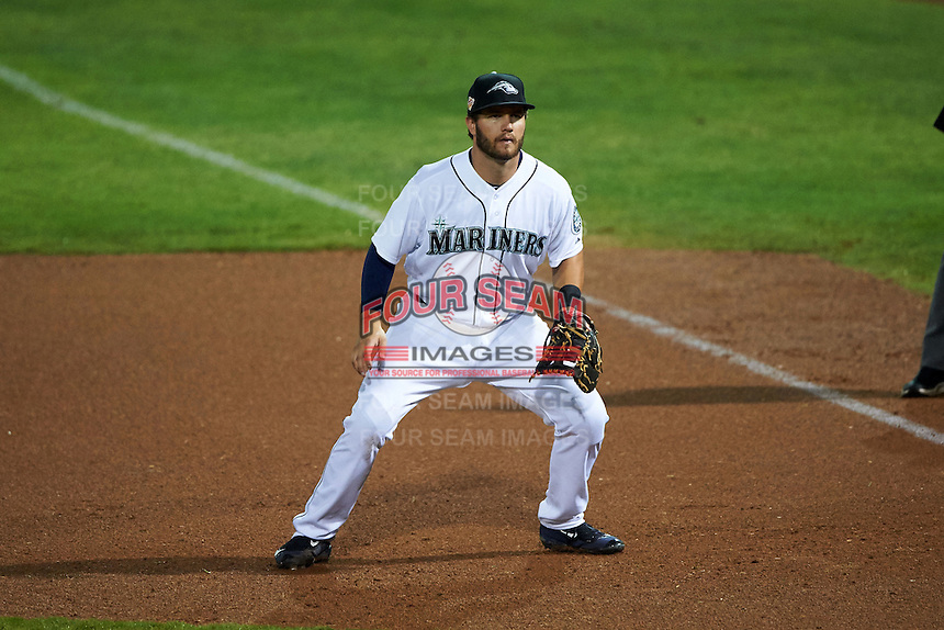 Peoria Javelinas first baseman D.J. Peterson (10) during an Arizona Fall League game against the Scottsdale Scorpions on October 24, 2015 at Peoria Stadium in Peoria, Arizona.  Peoria defeated Scottsdale 3-1.  (Mike Janes/Four Seam Images)