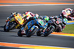 VALENCIA, SPAIN - NOVEMBER 11: Franco Morbidelli, Johann Zarco, Alex Rins during Valencia MotoGP 2016 at Ricardo Tormo Circuit on November 11, 2016 in Valencia, Spain