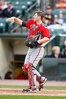 June 3, 2009:  Catcher Clint Sammons of the Gwinnett Braves in the field during a game at Frontier Field in Rochester, NY.  The Gwinnett Braves are the International League Triple-A affiliate of the Atlanta Braves.  Photo by:  Mike Janes/Four Seam Images