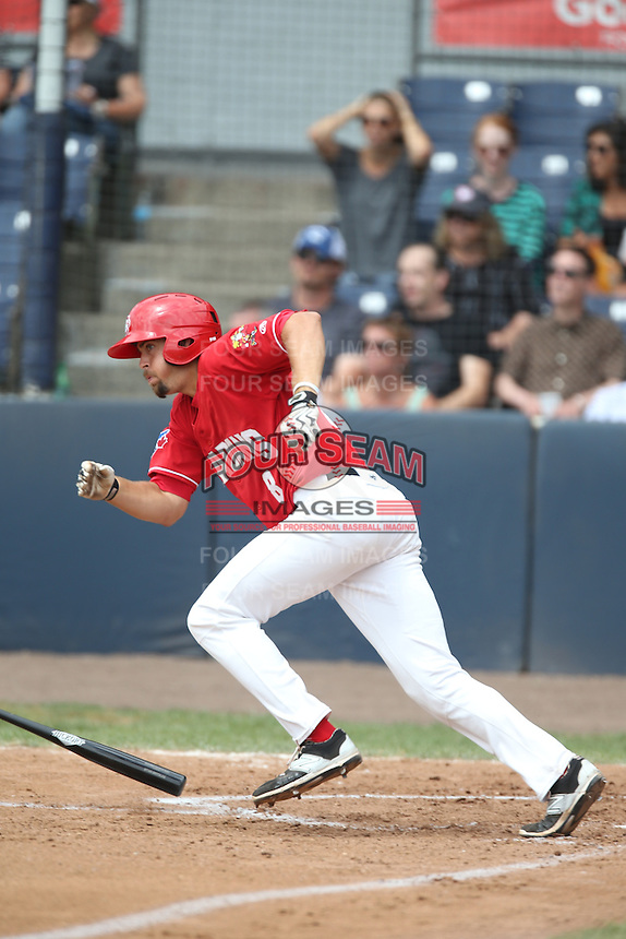 Ryan Metzler (18) of the Vancouver Canadians bats during a game against the Eugene Emeralds at Nat Bailey Stadium on July 22, 2015 in Vancouver, British Columbia. Vancouver defeated Eugene, 4-2. (Larry Goren/Four Seam Images)