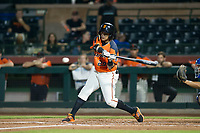 AZL Giants center fielder Ismael Munguia (29) at bat against the AZL Rangers on September 4, 2017 at Scottsdale Stadium in Scottsdale, Arizona. AZL Giants defeated the AZL Rangers 6-5 to advance to the Arizona League Championship Series. (Zachary Lucy/Four Seam Images)
