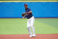 Khalil Watson (5) of Wake Forest High School (NC) playing for the Atlanta Braves scout team takes ground balls during infield practice prior to game two of the South Atlantic Border Battle at Truist Point on September 26, 2020 in High Pont, NC. (Brian Westerholt/Four Seam Images)