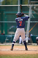 Atlanta Braves Ronald Acuña Jr. (7) during a minor league Spring Training game against the Detroit Tigers on March 25, 2017 at ESPN Wide World of Sports Complex in Orlando, Florida.  (Mike Janes/Four Seam Images)