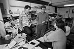 Pasteur Institute, Institut Pasteur, Paris, France 1985.<br /> (L-R) Professor David Klatzmann, Dr Pierre Sonigo, Dr Marc Alizon