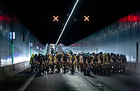 tunneling underneath the Schelde river / Antwerp Harbour <br /> <br /> Antwerp Port Epic / Sels Trophy 2021 (BEL)<br /> One day race from Antwerp to Antwerp (183km)<br /> <br /> The APC stands qualified as a 'road race', but with 36km of gravel and 28km of cobbled sections in and around the Port of Antwerp (BEL) this race occupies a unique spot in the Belgian race scene.<br /> <br /> ©kramon