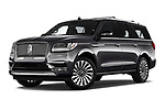 Stock pictures of low aggressive front three quarter view of a 2019 Lincoln Navigator L Reserve 5 Door Wagon