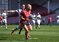 24th April 2021; Kingsholm Stadium, Gloucester, Gloucestershire, England; English Premiership Rugby, Gloucester versus Newcastle Falcons; Willi Heinz of Gloucester runs in their third try