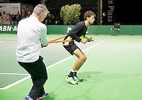 Februari 09, 2015, Netherlands, Rotterdam, Ahoy, ABN AMRO World Tennis Tournament, Warming up Robin Haase <br /> Photo: Tennisimages/Henk Koster