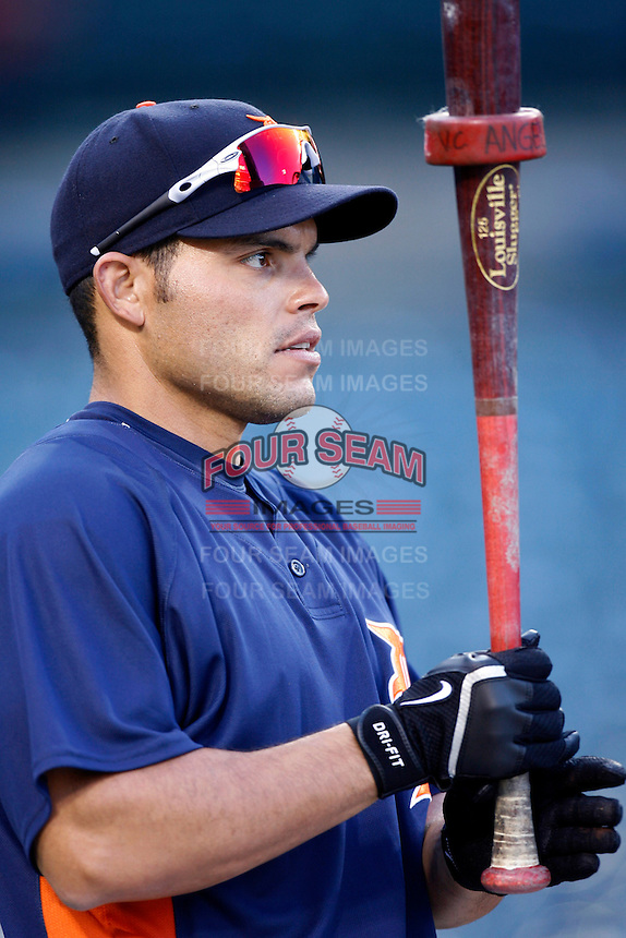 Ivan Rodriguez of the Detroit Tigers during batting practice before a game against the Los Angeles Angels in a 2007 MLB season game at Angel Stadium in Anaheim, California. (Larry Goren/Four Seam Images)