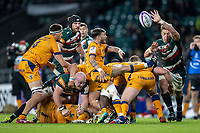 21st May 2021; Twickenham, London, England; European Rugby Challenge Cup Final, Leicester Tigers versus Montpellier; Benoit Paillaugue of Montpellier Rugby clears the ball