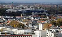 Stadtansichten 2009 - Blick vom Wintergartenhochhaus in Richtung Lindenau / Plagwitz - Zentralstadion WM-Stadion - evtl. bald Red Bull Arena - davor das Waldstraßenviertel - Luftaufnahme. Foto: Norman Rembarz..Norman Rembarz , ( ASV-Autorennummer 41043728 ), Holbeinstr. 14, 04229 Leipzig, Tel.: 01794887569, Hypovereinsbank: BLZ: 86020086, KN: 357889472, St.Nr.: 231/261/06432 - Jegliche kommerzielle Nutzung ist honorar- und mehrwertsteuerpflichtig! Persönlichkeitsrechte sind zu wahren. Es wird keine Haftung übernommen bei Verletzung von Rechten Dritter. Autoren-Nennung gem. §13 UrhGes. wird verlangt. Weitergabe an Dritte nur nach  vorheriger Absprache..