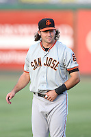 Seth Harrison (48) of the San Jose Giants warms up before a game against the Inland Empire 66ers at San Manuel Stadium on August 26, 2015 in San Bernardino, California. San Jose defeated Inland Empire, 8-1. (Larry Goren/Four Seam Images)