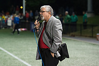 Boston, MA - Friday July 07, 2017: Former president and general manager of the Boston Breakers Joe Cummings pays tribute to Tony DiCicco following a regular season National Women's Soccer League (NWSL) match between the Boston Breakers and the Chicago Red Stars at Jordan Field.