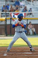 Kingsport Mets catcher Domingo Martinez (7) at bat during a game against the Burlington Royals at Burlington Athletic Complex on July 28, 2018 in Burlington, North Carolina. Burlington defeated Kingsport 4-3. (Robert Gurganus/Four Seam Images)