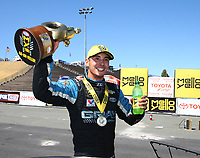 Jul 30, 2017; Sonoma, CA, USA; NHRA pro stock driver Tanner Gray celebrates after winning the Sonoma Nationals at Sonoma Raceway. Mandatory Credit: Mark J. Rebilas-USA TODAY Sports