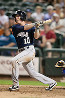New Orleans Zephyrs designated hitter Chase Lambin #10 smashes a home run during the Pacific Coast League baseball game against the Round Rock Express on April 30, 2012 at The Dell Diamond in Round Rock, Texas. The Zephyrs defeated the Express 5-3. (Andrew Woolley / Four Seam Images)