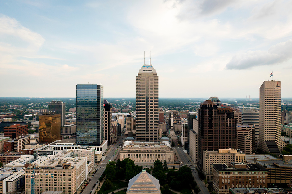 Salesforce Tower, the tallest building in Indiana, is pictured from the air in downtown Indianapolis, Indiana on Saturday, July 17, 2021. Opened in 1990, the building's twin spires are 811 feet tall. (Photo by James Brosher)