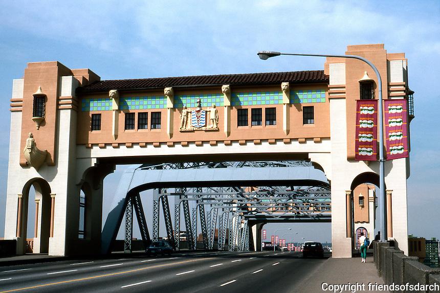 Vancouver: Burrard Street Bridge, 1930-32. J.R. Grant, Engineer; Sharp & Thompson, Consulting Architects. Art Deco steel truss bridge crossing False Creek.