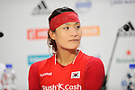 The Hague, Netherlands, June 13: Jongeun Kim #11 of Korea during press conference after the field hockey placement match (Women - Place 7th/8th) between Korea and Germany on June 13, 2014 during the World Cup 2014 at Kyocera Stadium in The Hague, Netherlands. Final score 4-2 (2-0)  (Photo by Dirk Markgraf / www.265-images.com) *** Local caption ***